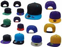 NEW Flat Bill Snap back Two Tone Color Plain Solid Hat Cap Baseball SB-006 IW