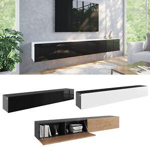 TV Hängeboard Lowboard Schrank Tisch Board in Hochglanz 210 cm (2 x 105cm) Länge
