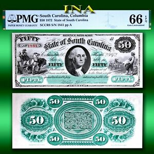 State of South Carolina 1872 $50 Currency Gem Unc PMG 66 EPQ Perfect Margins