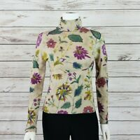 Etro Milano Womens Turtleneck Top Sz 40 Stretch Floral Long Sleeve Made in Italy