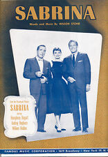 "SABRINA Sheet Music ""Sabrina"" Audrey Hepburn Humphrey Bogart William Holden"