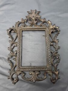 Antique Ornate ACANTHUS VINE PICTURE FRAME Wall-mount CAST IRON worn gold gild