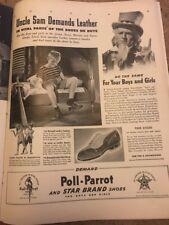 Poll Parrot Star Brand Shoes Original 1940s Vintage Print Ad Uncle Sam