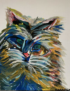 Paints : Acrylic Painting on canvas 11x14 Abstract Cat by Marelys Medina