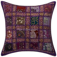 Sequins Sari Patchwork Geometric Pillowcase Cotton Throw Cushion Cover Purple
