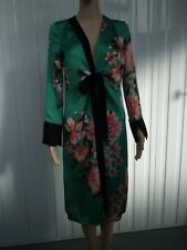 River Island Green Satin Floral Print Dressing Gown Size 6