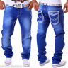 Men's Jeans Straight Fit Trousers Thick Seams Stitched Clubwear Vintage Bag NEW