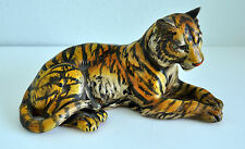 "UCCI Japan Tiger Figurine Collectible 9"" Long 5"" Tall Striped Laying Down"