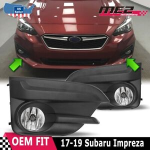 Fits 17-19 Subaru Impreza Hatchback PAIR Fog Lights Kit w/ Wiring Switch Bezels