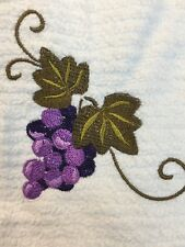 Embroidered Bar Hand Towel  BS1041 BUNCH OF  GRAPES W SWIRL