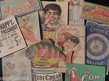 Lot of 12 Vintage ODDITY ADVERTISING Die Cuts 4 CRAFTS   FREE SHIP   B16