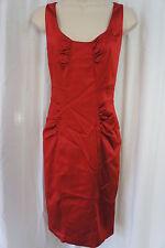 Jones New York Dress Sz 8 Vixen Red Shine Gathered Bust Waist Cocktail Party