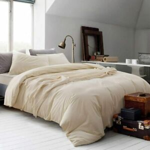 *Soft Touch 800 TC 100% Egyptian cotton Ivory Solid 5pcDuvet set in all UKSize*