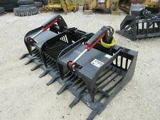 """New 80"""" HD Log Root brush Grapple Bucket 2 Cylinder USA made Attachment rock"""