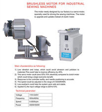 SEWING MACHINE BRUSH LESS SERVO MOTOR 110 volt 600 WATTS + FREE LED LAMP USA