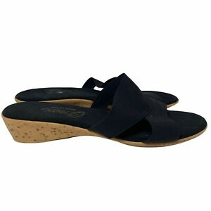 Onex Black Slide Low Wedge Sandals Circle Toe Women's 10