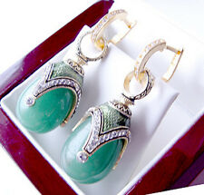 SALE ! EXQUISITE  EARRINGS STERLING SILVER 925 with GENUINE JADE and ENAMEL 24K