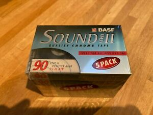 5 X BASF Sound Level II Chrome 90 BLANK AUDIO CASSETTE TAPES - SEALED 5 PACK