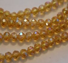 6x4mm yellow AB Crystal Loose Beads 98pcs Free Shipping A.30