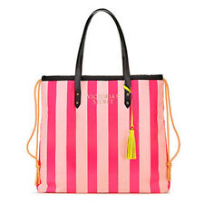VICTORIAS SECRET LIMITED EDITION PINK STRIPED CANVAS TOTE BAG 2018 NWT