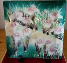 Stunning Vintage Japanese Cloisonne Square Floral dish in original box MINT COND
