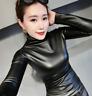 Womens Slim Warm PU Leather Tops Winter Plus Turtleneck Blouse Casual Plus F244