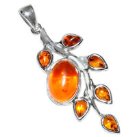 6g Authentic Baltic Amber 925 Sterling Silver Pendant Jewelry N-A378