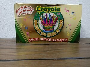 Box of Crayola Special Edition 100 Crayons Celebrating 100 years Gold Chrome Box
