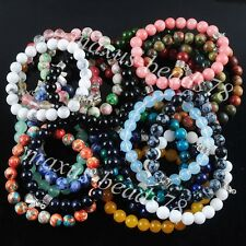 Natural Gemstones Angel 8mm Beads Stretch Bracelet 7 Inches Jewelry Charm MBK158