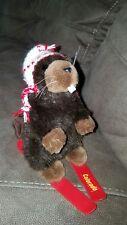 """Stuffed Animal House Plush 7"""" White Skiing Beaver Colorado Souvenir EXC"""