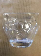 "Glass Vase with Hearts Engraved 4.75"" Tall"