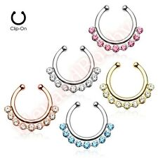 Non Piercing Gem Clip On Nose Septum Hanger Ring