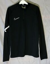 Boys Nike Dri-Fit Black White Sheen Zip Neck Jumper Sweater Age 12-13 Years