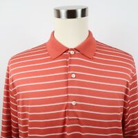 Greg Norman Mens Polyester Play Dry SS Salmon Striped Golf Polo Shirt Large