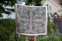 Pavlovo Posad shawl. woolen Scarf. Russian Shawl with Fringe (120x120 cm)