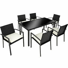 6 seater table poly rattan garden furniture chairs set outdoor wicker black