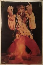 Original Vintage Poster Jimi Hendrix Guitar Fire Stage Music Memorabilia Pinup