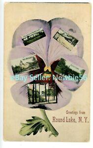 Round Lake NY -MULTI-VIEW VIOLET FLOWER-RAILROAD STATION- Postcard
