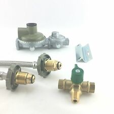 Gas Pigtail Braided Hose, Changeover Valve & Regulator Kit for Caravan and House