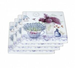 New 4pc Lavender Flowers Coaster Set Drink Coasters Ceremic Chinaware Gift 4''