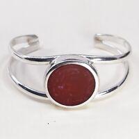 "6.25"", Vtg Sterling Silver Handmade Cuff, Meixco 925 Bracelet W/ Red Jasper"