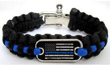 Police Lives Matter Flag Thin Blue Line Paracord Survival Bracelet Metal Clasp M