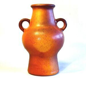 West German Pottery Dumler & Breiden Burnt Orange Glazed Ceramic Handled Vase