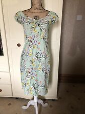 JOE BROWNS Mint Green Floral Knee Length Pencil Essential Vintage Dress Size 12