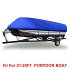 Blue 21-24ft 210D Dustproof Waterproof Trailerable Square Shape Boat Cover