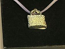 "Wicker Handbag TG98 English Pewter On 18"" Purple Cord Necklace"