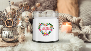 Abuela Candle Heart Floral Wreath gift Long Burning