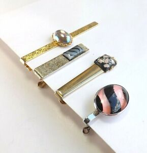 Job Lot 4 1960s 1970s Tie Clips Pins Vintage Gold and Silver Tone with Glass