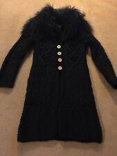 Stunning Little Girls Knitted Cardi Coat With Mongolian Fur Collar Age 5 Nolita