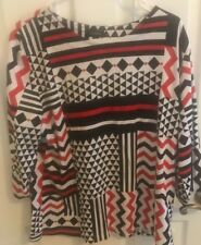 Links Red, Black, & White Geometric 80's Blouse Size Large